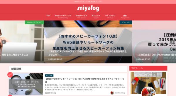 miyalogtop画面の画像