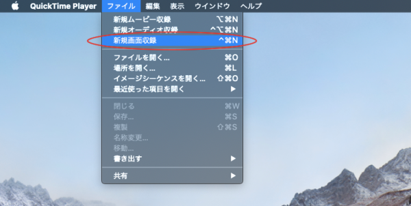 画面収録選択画面
